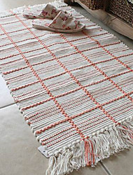 Bath Mat Modern White   Bottom Colour With Orange Lines Pattern