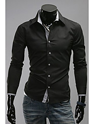 DJJM Men's Fashion Leisure New  Long Sleeve Neckline Tiny Modify Shirt(Screen Color)