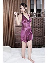 Feminino Baby-doll & Slip / Lingerie com Renda / Cetim & Renda / Super Sensual Roupa de Noite Cor Única Poliéster Roxo Mulheres