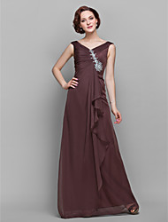 Lanting A-line Plus Sizes / Petite Mother of the Bride Dress - Chocolate Floor-length Sleeveless Chiffon