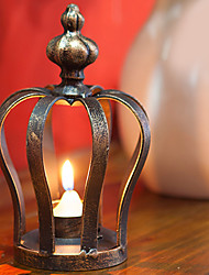 "7""H Retro Style Crown Iron Candle Holder"