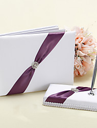 Wedding Guest Book and Pen Set in White and Purple Accent