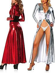 Fantasias de Cosplay Mais Fantasias Festival/Celebração Trajes da Noite das Bruxas Vermelho Prateado Vestido Dia Das Bruxas Carnaval