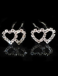 Two Pieces Alloy Heat Shape Wedding Bridal Hairpins With Rhinestones