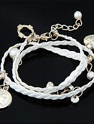 Fabric Bracelet Multilayer European Style Fabric Heart Pendant Wrap Bracelet