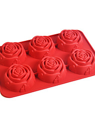 Six Holes Rose Shape Muffin Baking Trays, Silicone(Color Randoms)