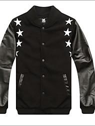 Men's Long Sleeve Jacket , Cotton/PU Casual/Sport Print