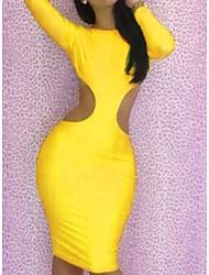 Senhoras da Mulher Neon Amarelo manga comprida recorte Bodycon Mini Vestido