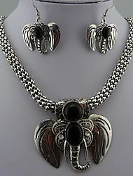 Ретро стиль Слон Черный отложения солей ожерелье и серьги для женщин