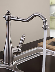 Solid Brass Kitchen Faucet - Nickel Brushed Finish