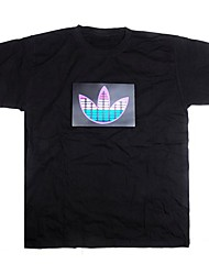 Музыка Звук активированного светодиодной T-Shirt Красочные полосы эквалайзера проблесковый маячок