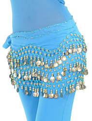 Belly Dance Belt Women's Training Chiffon Beading Sequins 1 Piece Hip Scarf