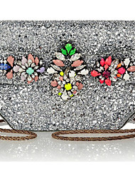 Fashion Crystal Flower With Sequins Evening Bag