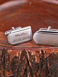 Curva presente personalizado de prata do metal gravado Cufflink
