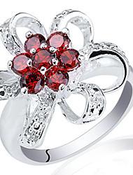 forme de fleur Lady véritable anneau d'argent sterling avec zircon petits