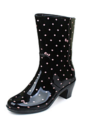 Women's Shoes Rubber Spring / Summer / Fall / Winter Rain Boots Outdoor / Casual Chunky Heel Black / Red