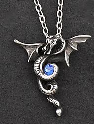 Eternal Dragon Alloy Gothic Lolita Necklace with Blue Gemstone