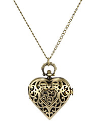 Women's Fashion Watch Necklace Watch Quartz Band Vintage Heart shape Bronze Brand