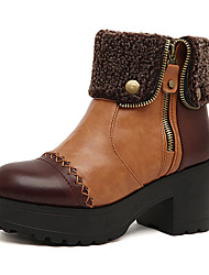 Kimberly Warm Spitz Zipper Ankle Boots (Brown)