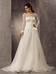 A-line/Princess Plus Sizes Wedding Dress - Ivory Court Train Off-the-shoulder Organza/Tulle
