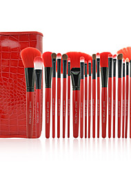 Pro High Quality 24 PCs Synthetic Hair Makeup Brush Set with Pouch,4 Color for Option