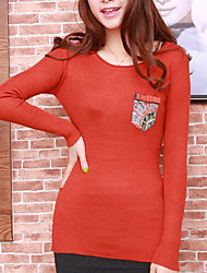 Folli Round Collar Long Sleeve Shirt With Shoulder Pad