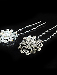 Nice Two Pieces Alloy Wedding Bridal Hairpins With Rhinestones
