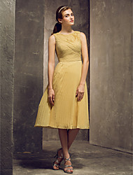 Tea-length Chiffon Bridesmaid Dress - Gold Plus Sizes / Petite Sheath/Column Jewel
