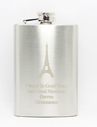 Personalized Father's Day Gift Eiffel Tower Pattern 8oz Metal Flask