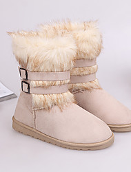 Guosheng Fashion Fox Fur Snow Boots(Cream)