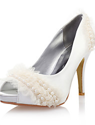Women's Shoes Satin / Lace Spring / Summer / Fall Heels / Peep Toe Wedding Stiletto Heel Imitation Pearl Ivory