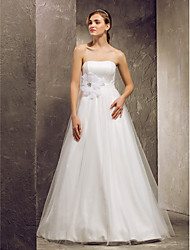 Lanting Bride A-line Petite / Plus Sizes Wedding Dress-Floor-length Strapless Tulle