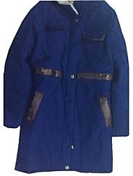 Miaojia Women's Royal Blue Fur Lapel Thick Tweed Coat
