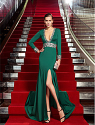 Sheath / Column V-neck Sweep / Brush Train Jersey Formal Evening Dress with Crystal Detailing by TS Couture®