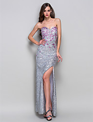 Sheath/Column Sweetheart Floor-length Print Sequined Evening Dress