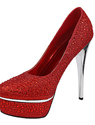Women's Spring / Summer / Fall / Winter Heels Glitter Wedding / Dress Stiletto Heel Rhinestone Black / Blue / Red / White / Silver / Gold