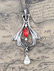 The Guest of Dark Night Alloy Gothic Lolita Necklace with Red Gemstone