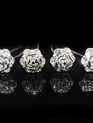 Nice Four Pieces Alloy Flower Shape Wedding Bridal Hairpins With Rhinestones
