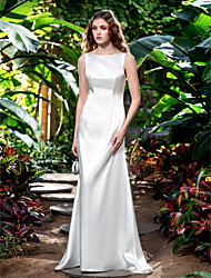 Sheath/Column Plus Sizes Wedding Dress - Ivory Sweep/Brush Train Bateau Stretch Satin