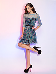 Cocktail Party/Holiday Dress - Multi-color Plus Sizes A-line/Princess Jewel Short/Mini Sequined/Lace