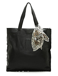 Maxhope Women's Black Real Cow Leather Large Tote Shoulder Bag Incl Scarf