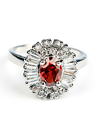 ME Flower Red Zircon Ring(TJ00204)