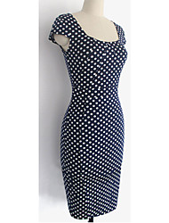 Women's Formal Bodycon Dress,Polka Dot Deep U Knee-length Short Sleeve Black All Seasons