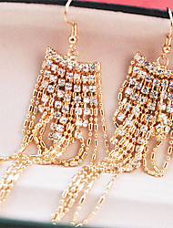MARRY ME Women's Full Diamond Drop Earrings Ear Fringe Tassels Eardrop(Gold)
