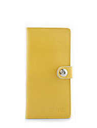 KATE&CO Vintage Genuine Leather Solid Color Magnet Wallet(Yellow)