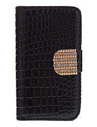 Crocodile Stripe Teste padrão de corpo inteiro com Golden Diamond botão e slot para cartão para o iPhone 4/4S (cores sortidas)