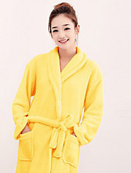 Bath Robe,High-class Yellow Solid Colour Garment Thicken