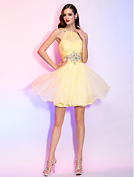 Cocktail Party / Homecoming / Holiday Dress - Daffodil Plus Sizes / Petite A-line / Princess High Neck Short/Mini Chiffon