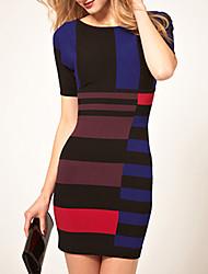 Frauen-Mischfarben Kurzarm Strickkleider