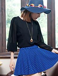 Фолли Классический сплошной цвет горошек юбка
